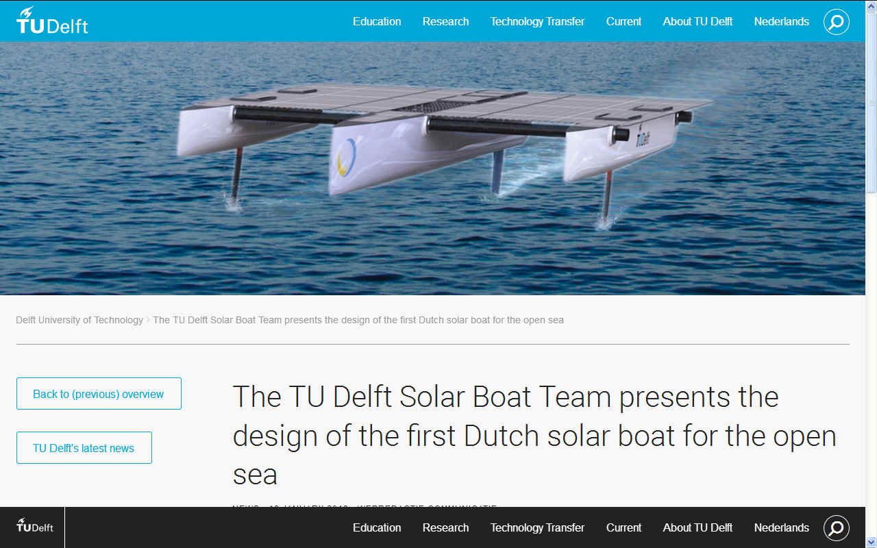TU Delft proposed design for a solar powered cross channel record boat