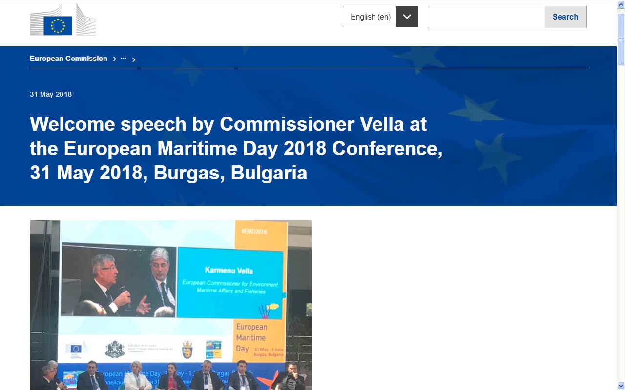 KARMENU VELLA'S OPENING SPEECH EUROPEAN MARITIME DAY BURGAS 2018 MAY