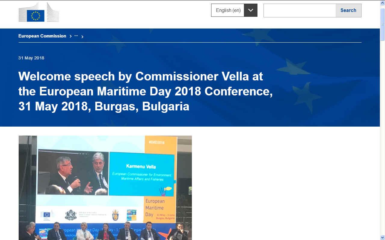 KARMENU VELLA'S OPENING SPEECH EUROPEAN MARITIME DAY BURGAS 2018 MAY