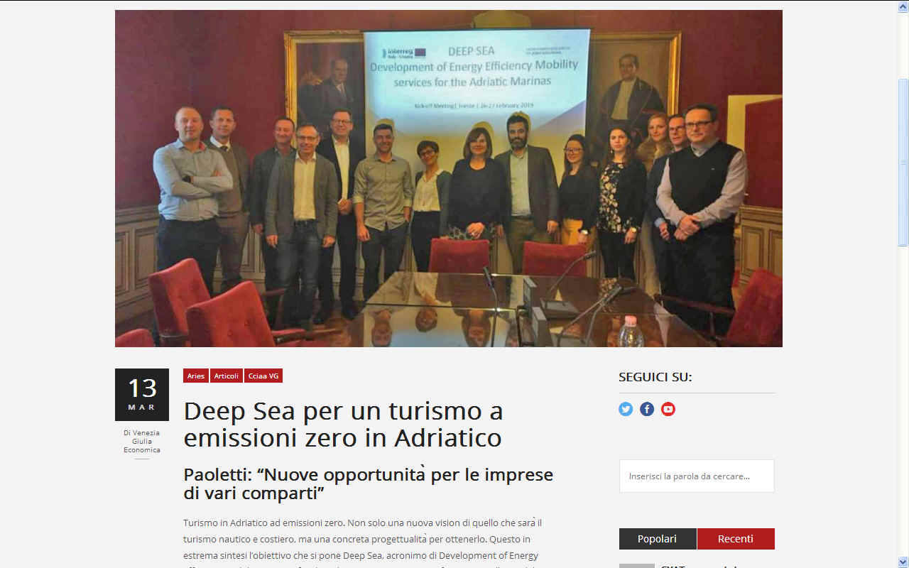 DEEP SEA Adriatico zero emission tourism