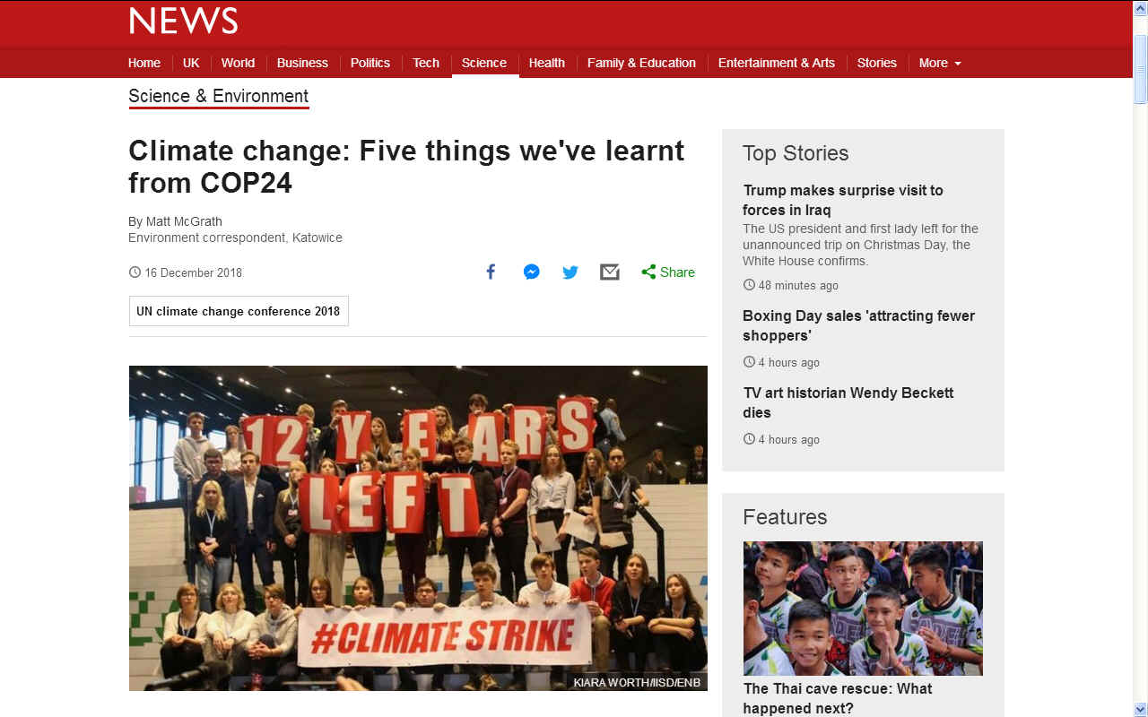 BBC News climate strikes by school children