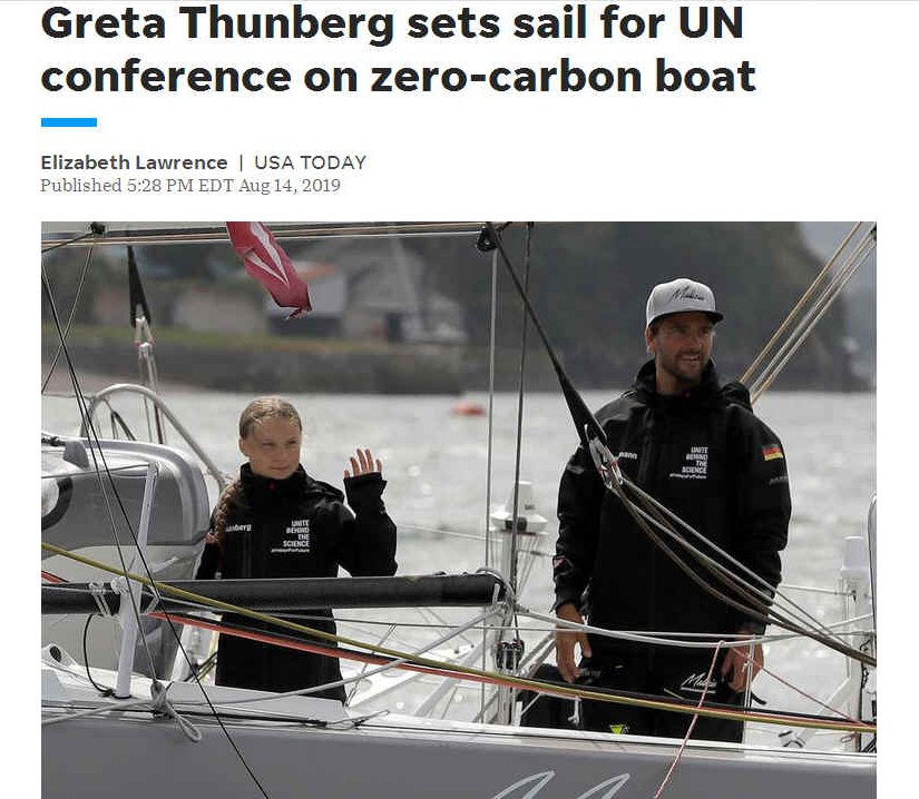 Zero emission sailor, Greta Thunberg sets sail for New York and the Chile, Santiago, for climate change talks