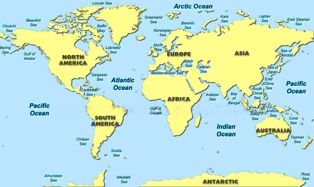 Map Of The Seas LISTS SEAS AND OCEANS A TO Z INDEX OF THE WORLD Map Of The Seas