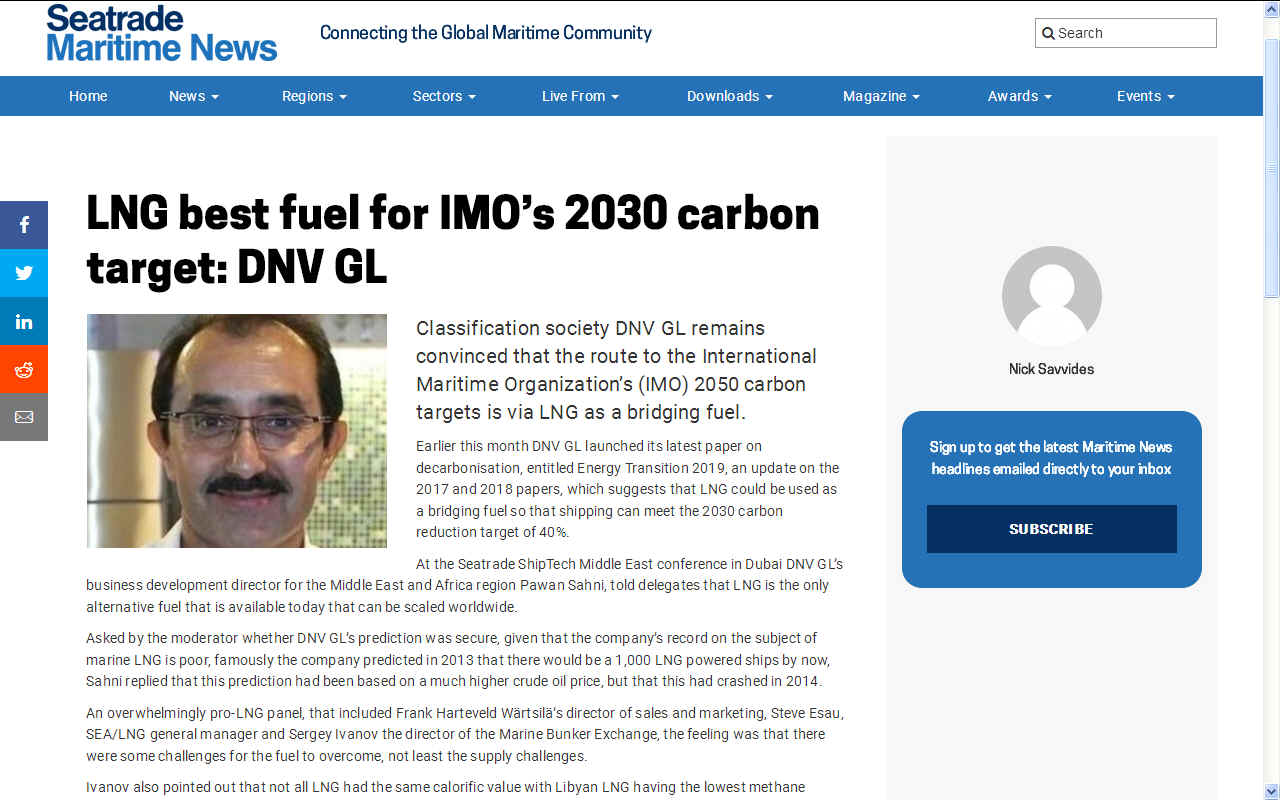 DNV GL liquid natural gas bunkering as bridging fuel for IMO targets