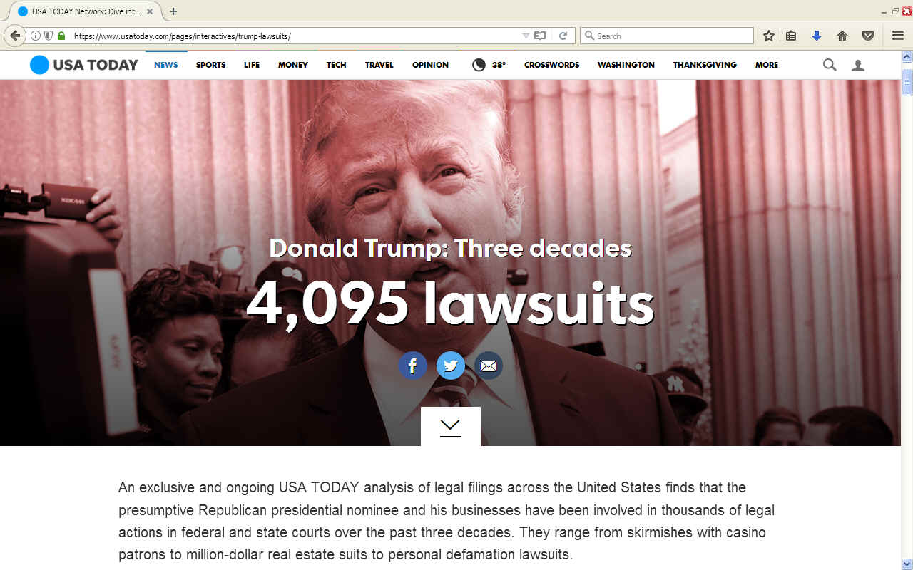Law suits USA Today on Donald Trump's business practices